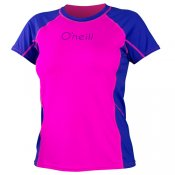 O'Neill Womens Colour Block S/S Rash Tee (Berry)